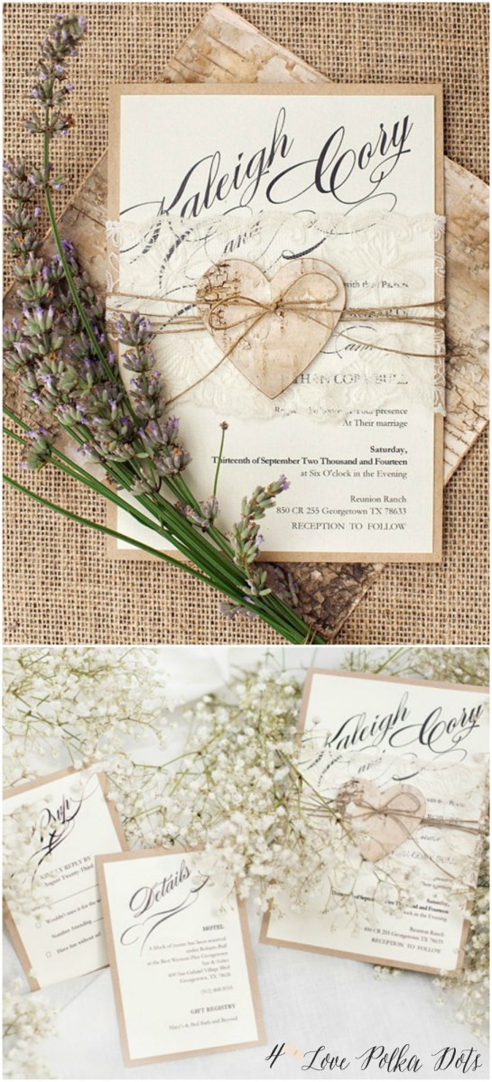 Rustic Lace Wedding Invitations Romantic Rustic Lace Wedding Invitations With Birch Bark Heart
