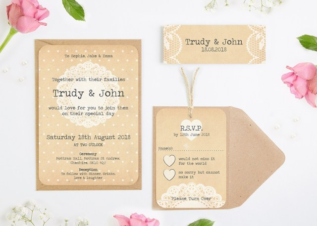 Rustic Lace Wedding Invitations Rustic Lace Wedding Invitation Bundle Normadorothy