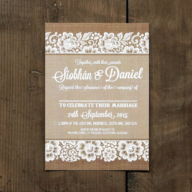 Rustic Lace Wedding Invitations Vintage Lace Wedding Day Invitation Feel Good Wedding Invitations
