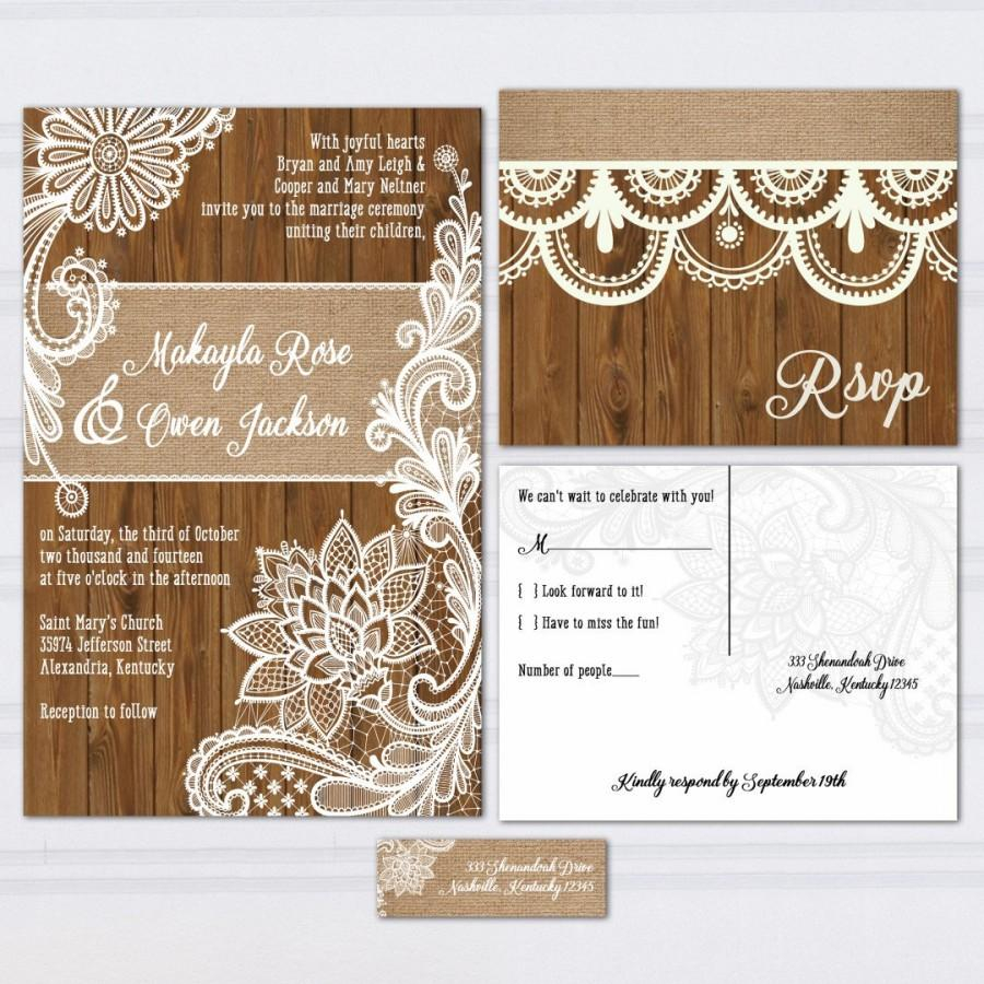 Rustic Lace Wedding Invitations Wood Lace Wedding Invitation Suite Burlap And Lace Wood Panel Look