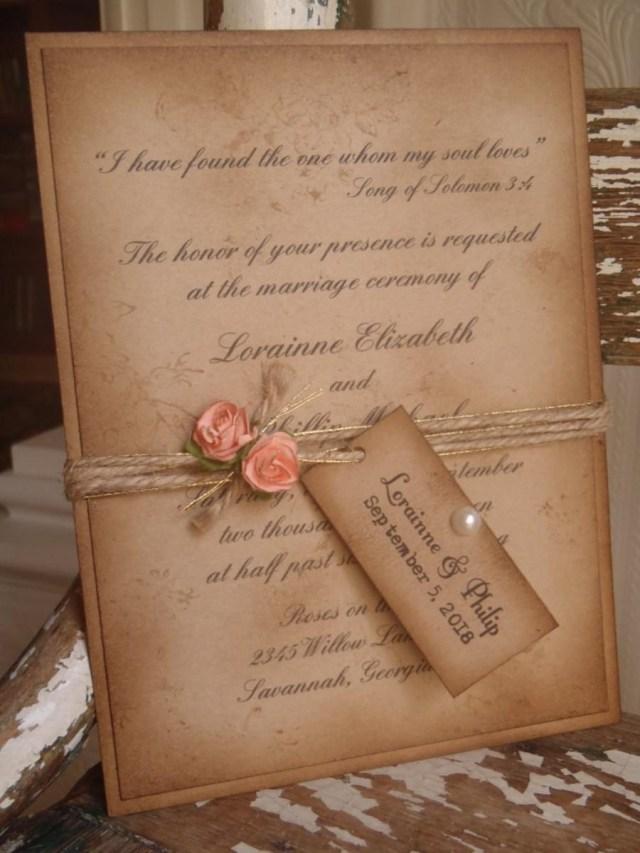 Rustic Vintage Wedding Invitations Coral Rustic Vintage Woodland Kraft Wedding Invitation Shab