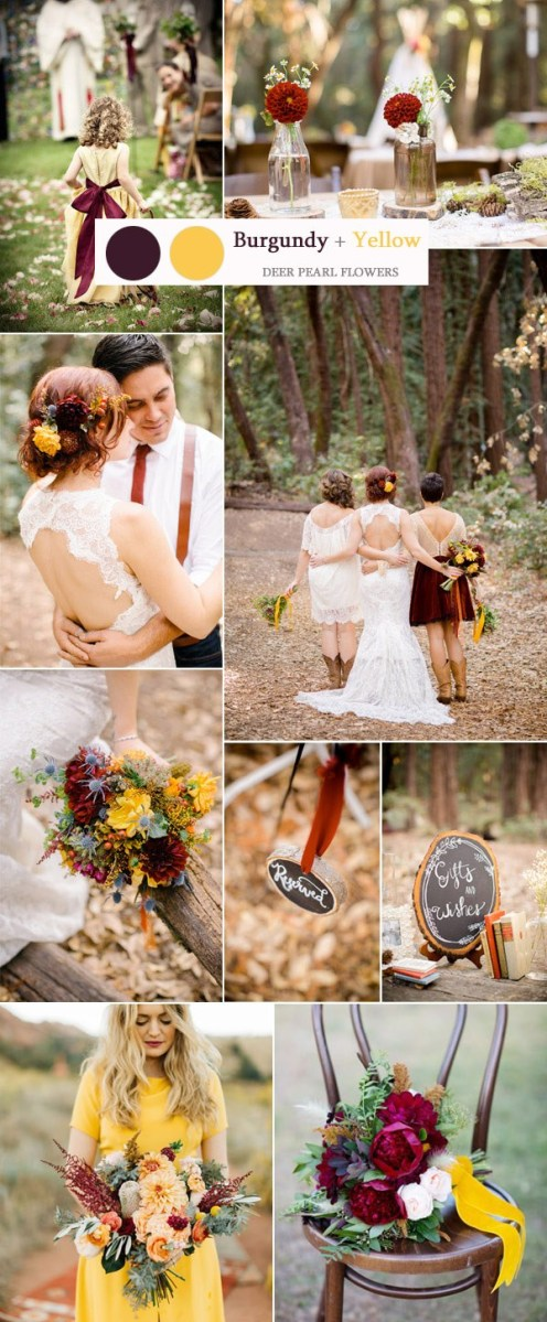 Rustic Wedding Colors Burgundy And Yellow Rustic Wedding Color Ideas Deer Pearl Flowers