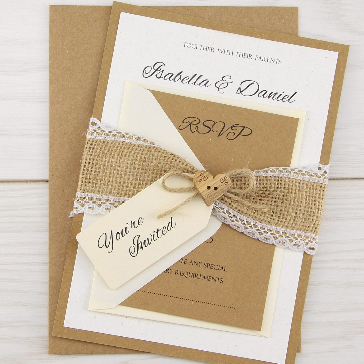 Rustic Wedding Invitation Dakota Parcel Wedding Invitation Pure Invitation Wedding Invites