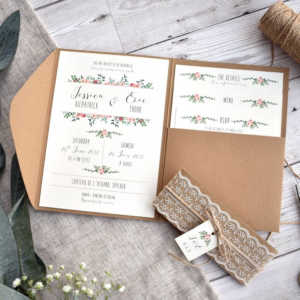 Rustic Wedding Invitation Floral And Kraft Wedding Invitation Set Oops A Doodle