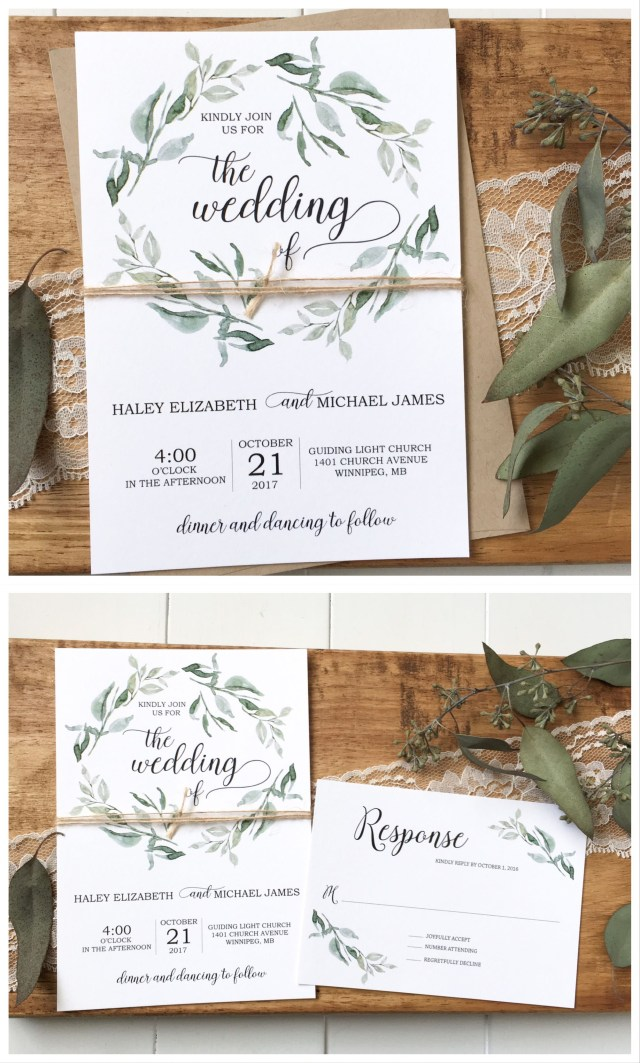 Rustic Wedding Invitation Modern Wedding Invitation Rustic Chic Wedding Wedding