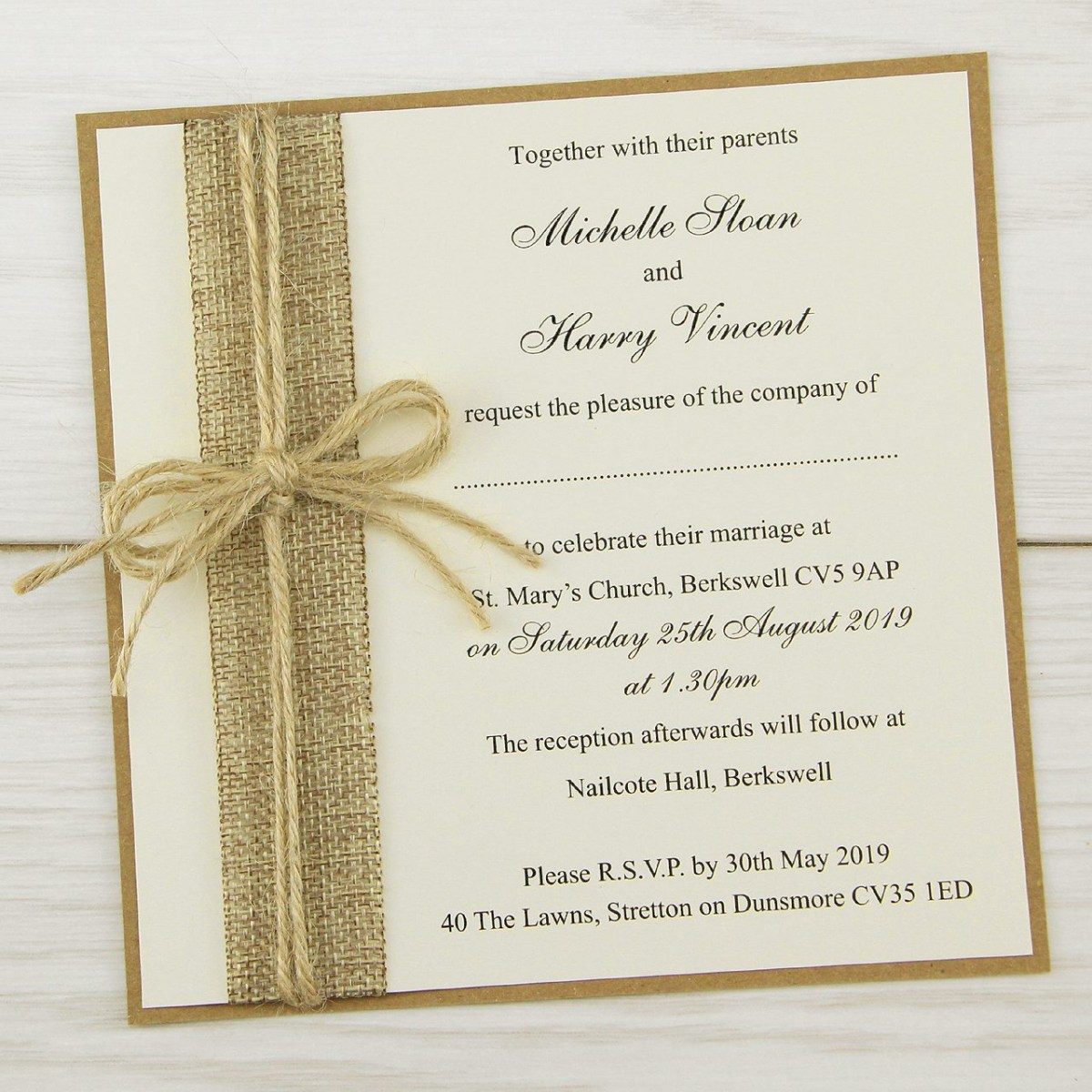 Rustic Wedding Invitation Rustic Burlap Layered Square Wedding Invitation Pure Invitation