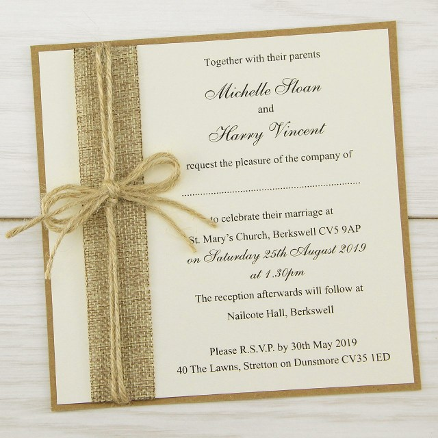 Rustic Wedding Invitation Rustic Burlap Layered Square Wedding Invitation Pure Invitation