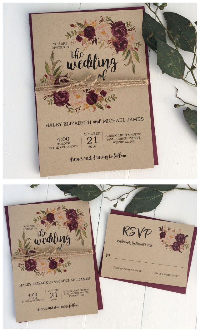 Rustic Wedding Invitation Rustic Wedding Invitation Marsala Wedding Invitation Burgundy