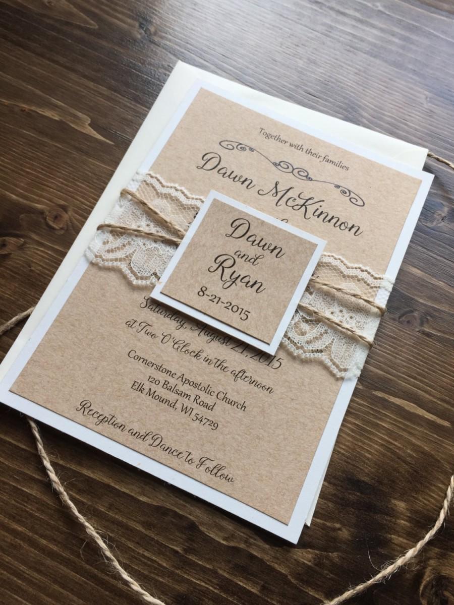 Rustic Wedding Invitation Rustic Wedding Invitation Vintage Wedding Invitation Lace Wedding
