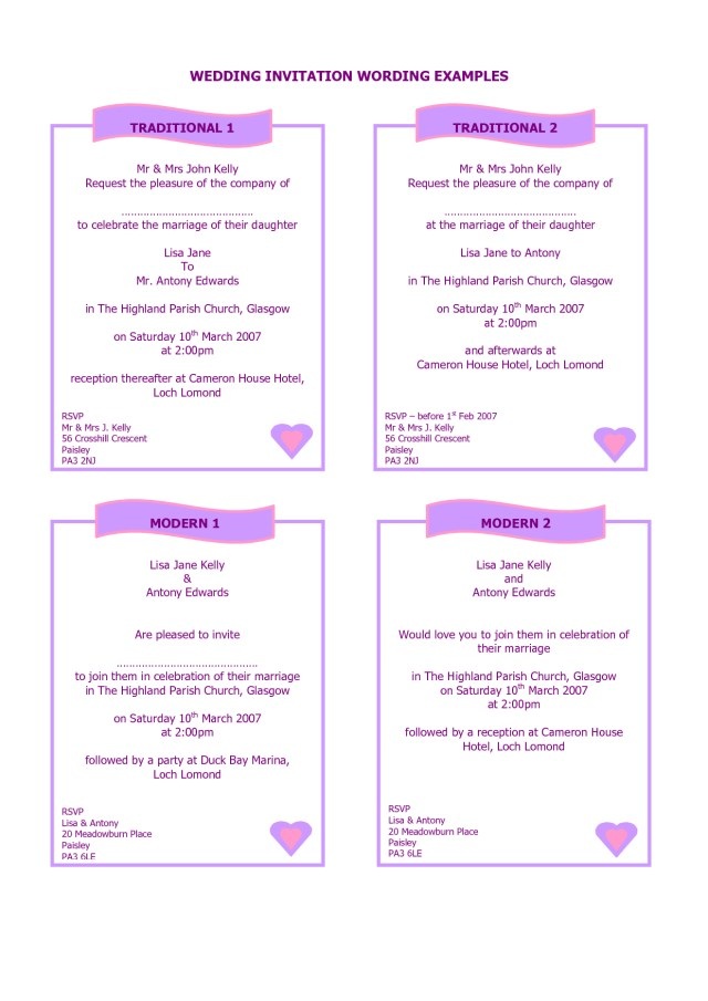 Sample Wedding Invitation Examples Of How To Write A Wedding Invitation Google Search A