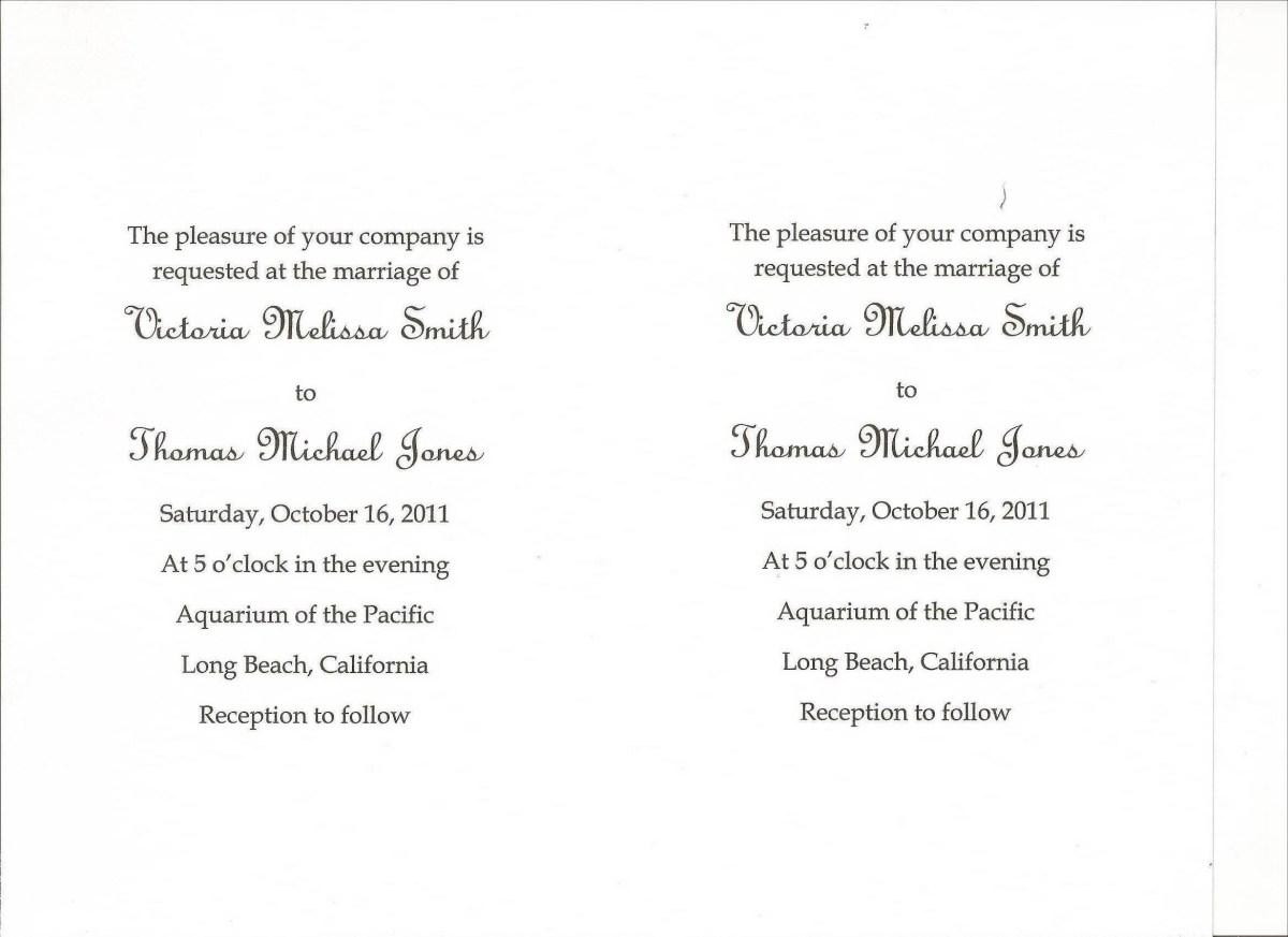 Samples Of Wedding Invitations Diy Wedding Invitations