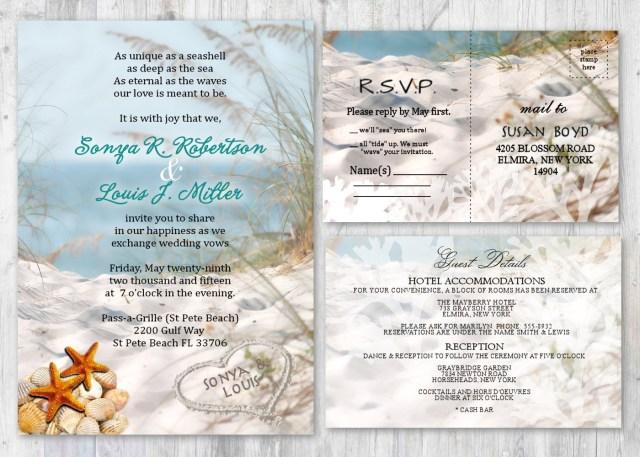 Seashell Wedding Invitations Beach Wedding Invitations Seashell Wedding Invitation Beach Etsy