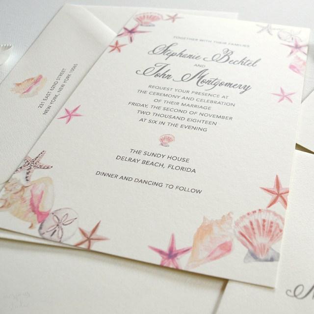 Seashell Wedding Invitations Seashell Beach Wedding Invitations Only At Mospens Studio