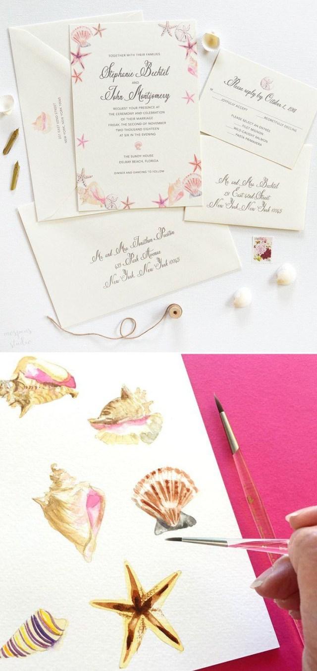 Seashell Wedding Invitations Watercolor Seashells Wedding Invitations 2550541 Weddbook