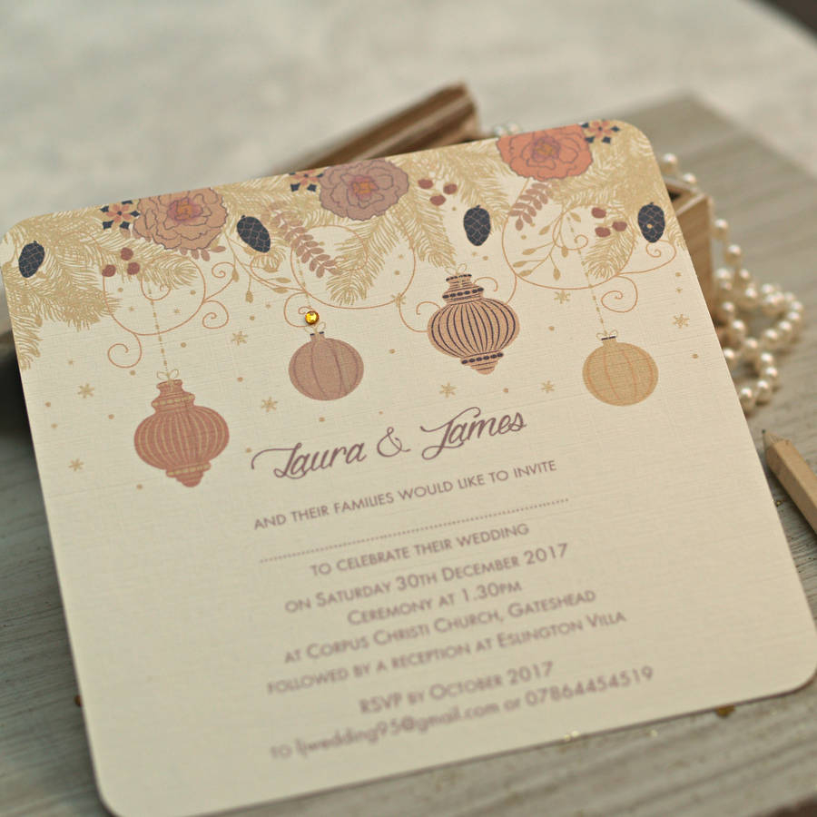 Christmas Wedding Invitations.Snowflake Themed Wedding Invitations Christmas Winter