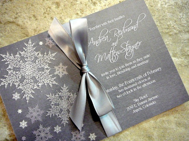 Snowflake Themed Wedding Invitations Cool And Frosty Invitations Snowflake Sample Grey With Silver