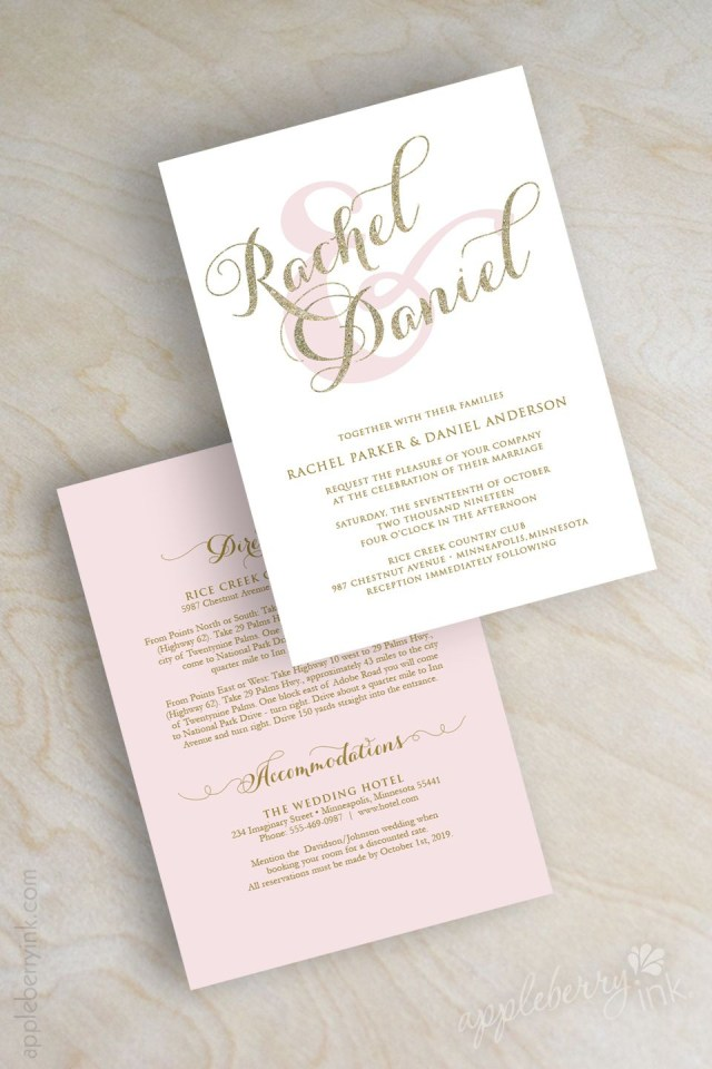 Sparkle Wedding Invitations Gold Glitter Sparkle Wedding Invitation Pink And Gold Wedding