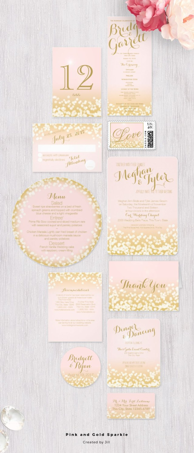 Sparkle Wedding Invitations Pink And Gold Sparkle Light Effect Wedding Invitation Design Suite
