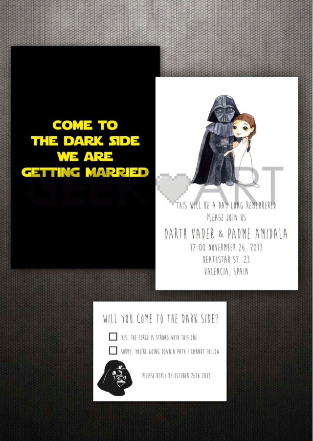 Star Wars Wedding Invitations Printable Star Wars Wedding Invitation And Rsvp Geekandart