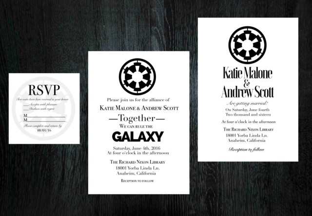 Star Wars Wedding Invitations Star Wars Wedding Invitation Rsvp Set Etsy