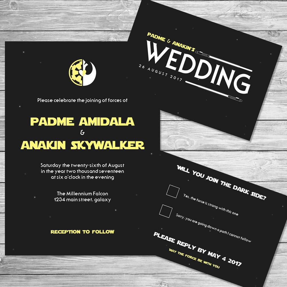 Star Wars Wedding Invitations Star Wars Wedding Invitations