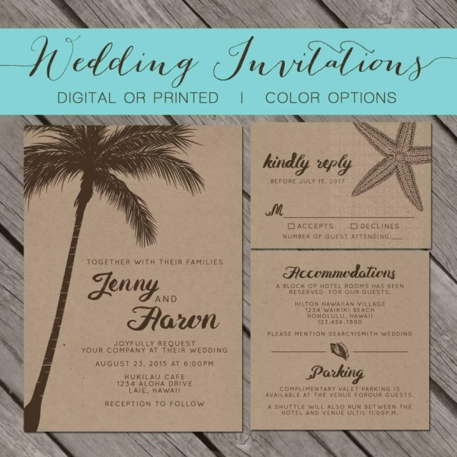 Starfish Wedding Invitations Beach Kraft Paper Wedding Invitation Palm Trees Island