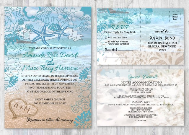 Starfish Wedding Invitations Beach Wedding Invitations Starfish Wedding Invitation Beach Etsy