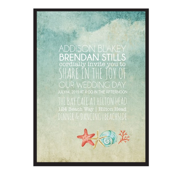 Starfish Wedding Invitations Beach Wedding Invitations Watercolor Starfish Seashell