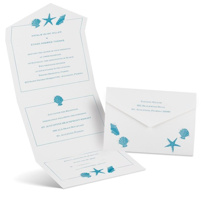 Starfish Wedding Invitations Starfish And Seashells Seal And Send Invitation Anns Bridal Bargains