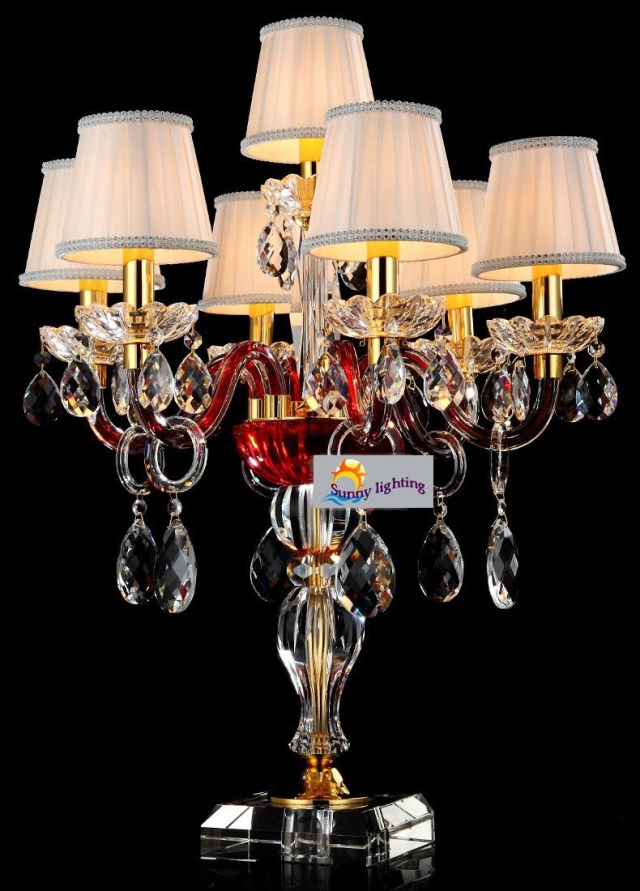 Table Lights Wedding 2019 Modern Wedding Red Crystal Table Lamps With Shades 7 Lights