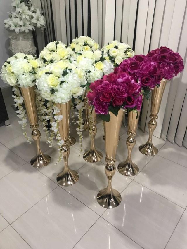Table Wedding Decor Hot Sell Shiny Gold Wedding Flower Vase 75 Cm Tall Table Centerpiece