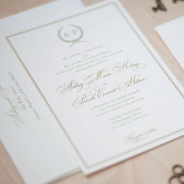 Traditional Wedding Invitation Monogram Wedding Invitation Sage And Gold Invitation Olive Branch