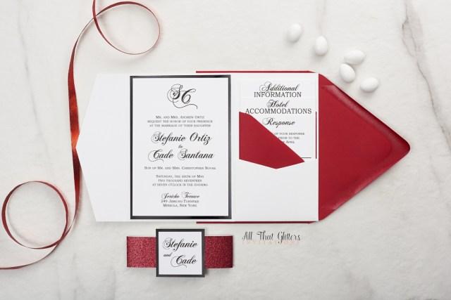 Traditional Wedding Invitation Stephanie Traditional Wedding Invitation All That Glitters
