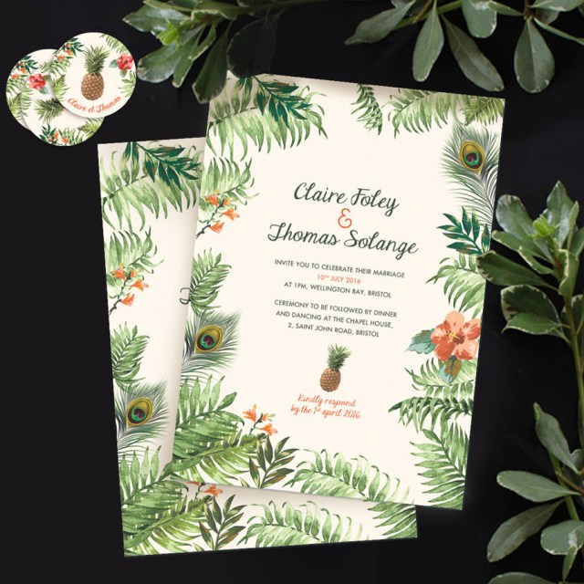 Tropical Wedding Invitations Tropical Jungle Wedding Invitation Pepper Joy
