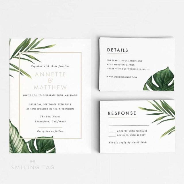 Tropical Wedding Invitations Tropical Wedding Invitation Suite Wedding Invitation Printable