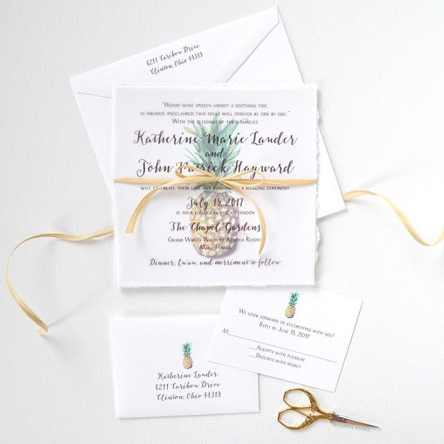 Tropical Wedding Invitations Watercolor Pineapple Wedding Invitations Only At Mospens Studio