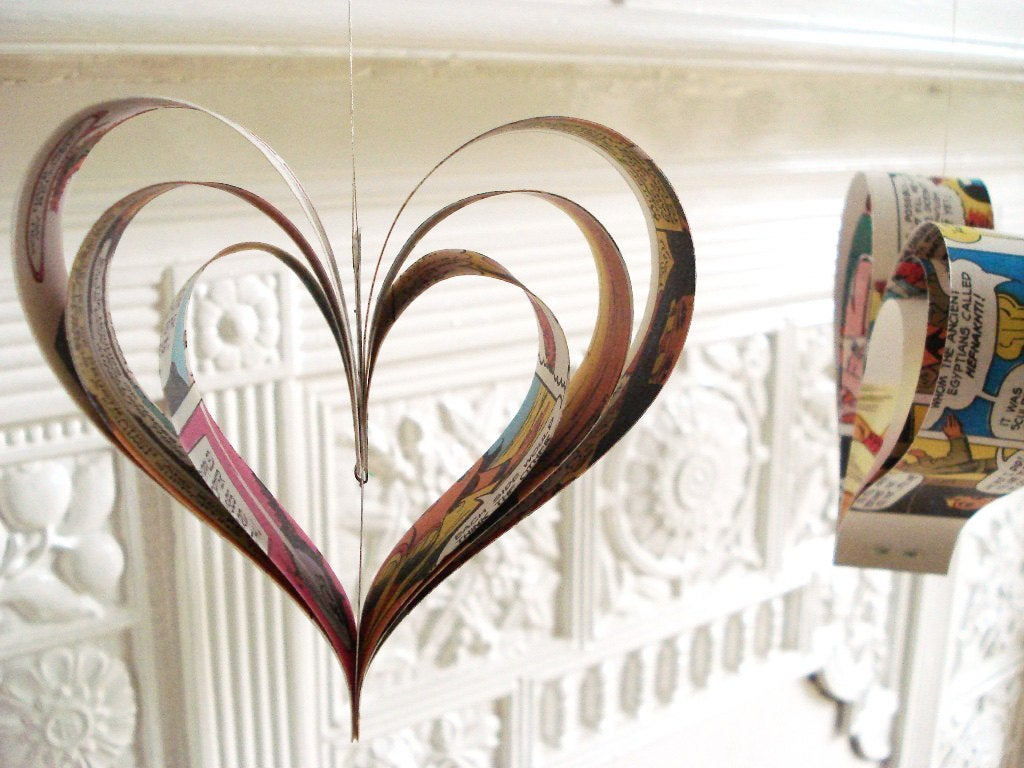 Upcycled Wedding Decorations 8 Comic Hearts Party Decor Wedding Decoration Comic Book Etsy