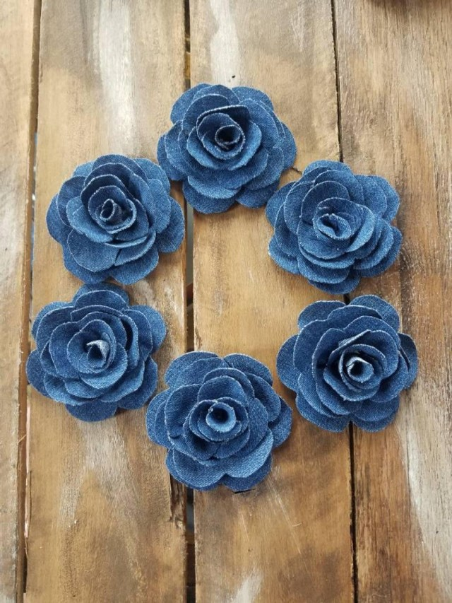 Upcycled Wedding Decorations Denim Roses Denim Flower Upcycled Denim Country Wedding Etsy