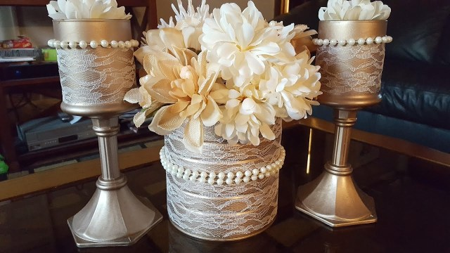 Upcycled Wedding Decorations Upcycled Candle Holders Centerpiece Dollar Tree Diy Youtube