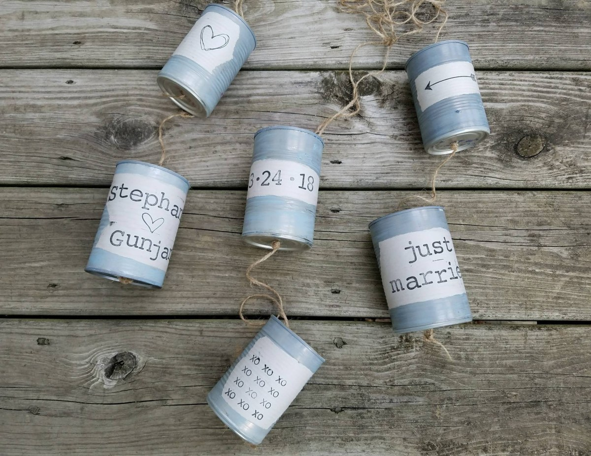 Upcycled Wedding Decorations Wedding Car Tin Cans Just Married Cans Upcycled Wedding Etsy