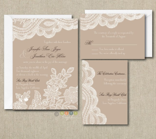 Vintage Lace Wedding Invitations 100 Personalized Custom Rustic Vintage Lace Wedding Invitations Set