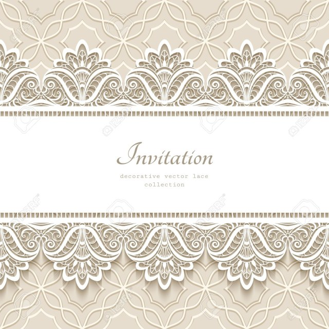 Vintage Lace Wedding Invitations Vintage Lace Background With Seamless Border Ornament Elegant