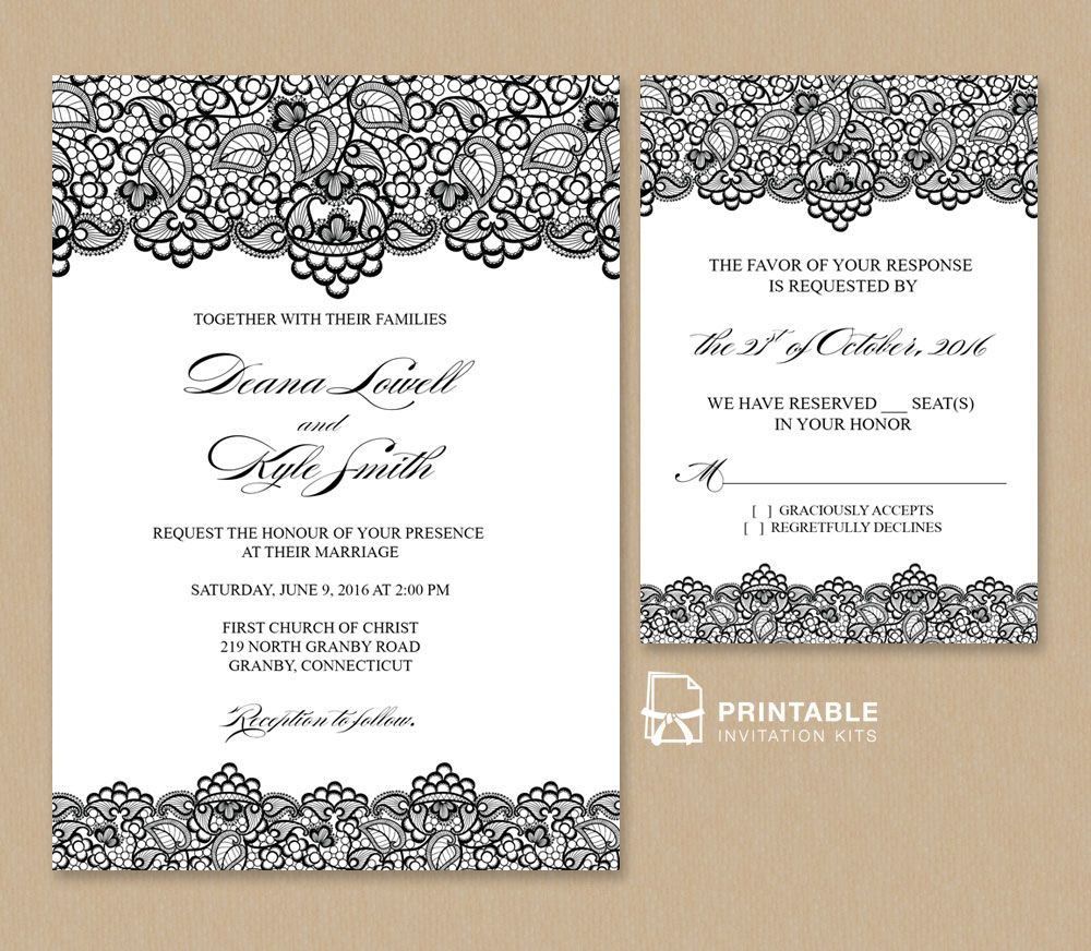 Vintage Wedding Invitation Templates Free Pdf Wedding Invitation Template Black Lace Vintage Wedding