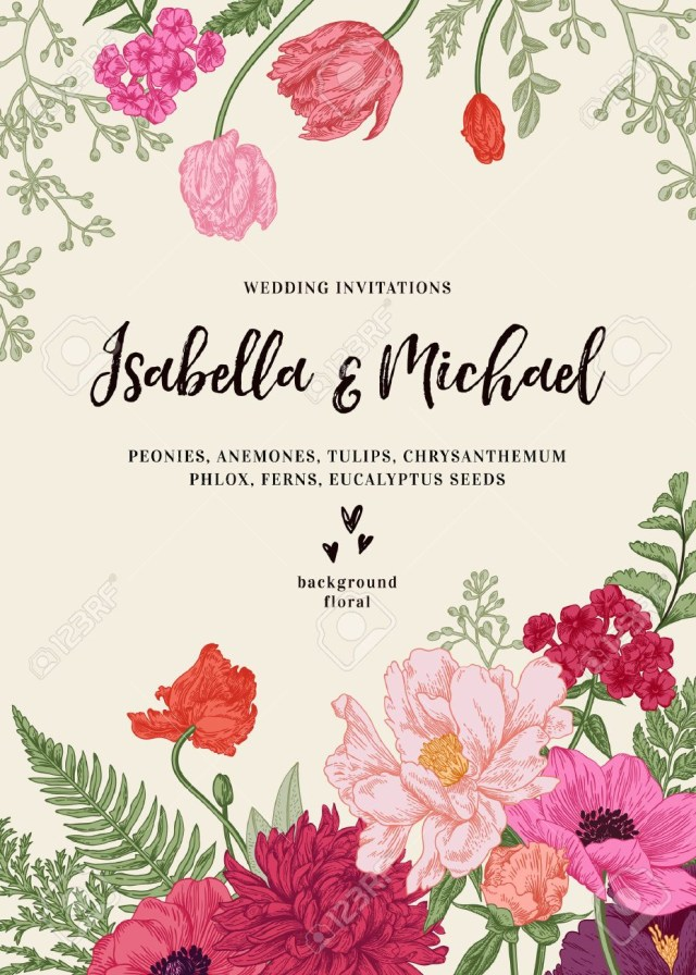 Vintage Wedding Invitations Vintage Wedding Invitation Summer Garden Flowers Peonies Anemones