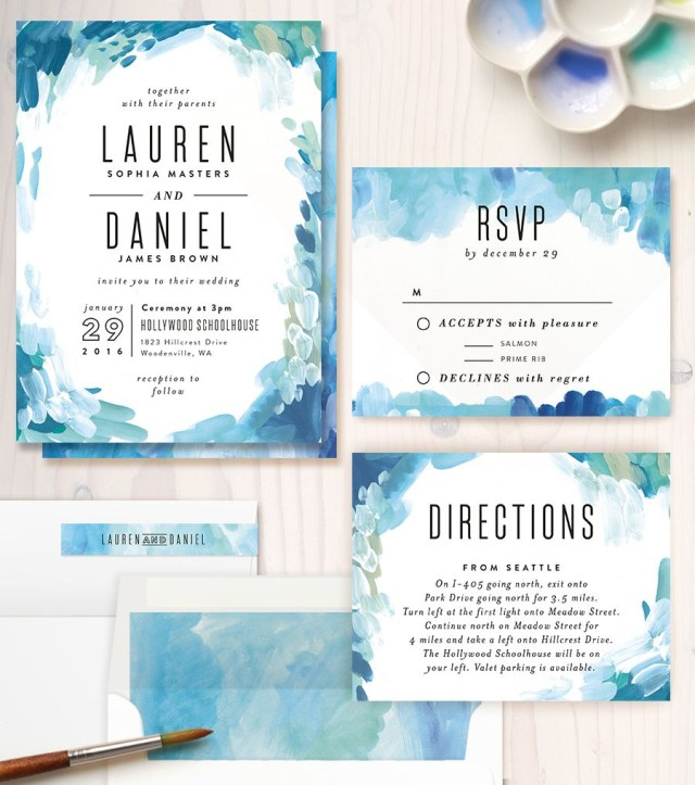 Watercolor Wedding Invitations Gallery Abstract Art Invitations Paper Pinterest Wedding