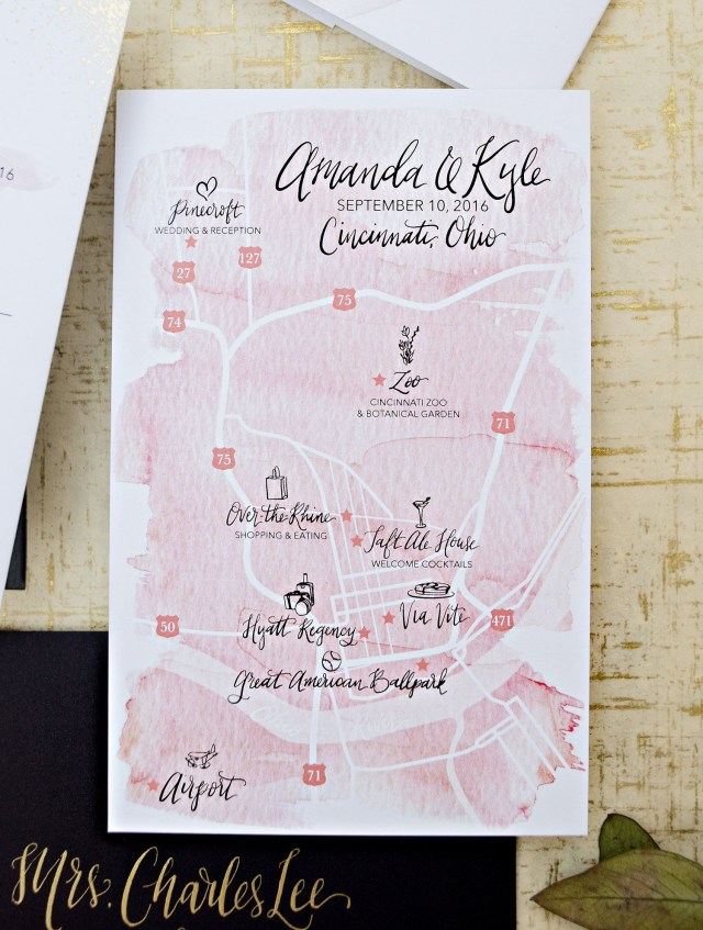 Watercolor Wedding Invitations Gold Foil Dot And Blush Watercolor Wedding Invitation Suite Blush