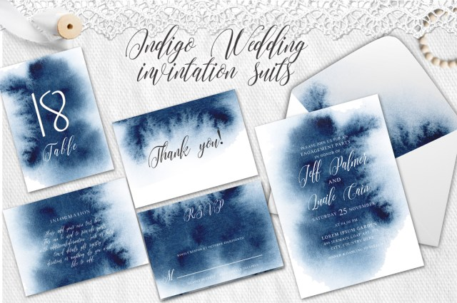 Watercolor Wedding Invitations Indigo Watercolor Wedding Invitation Suite