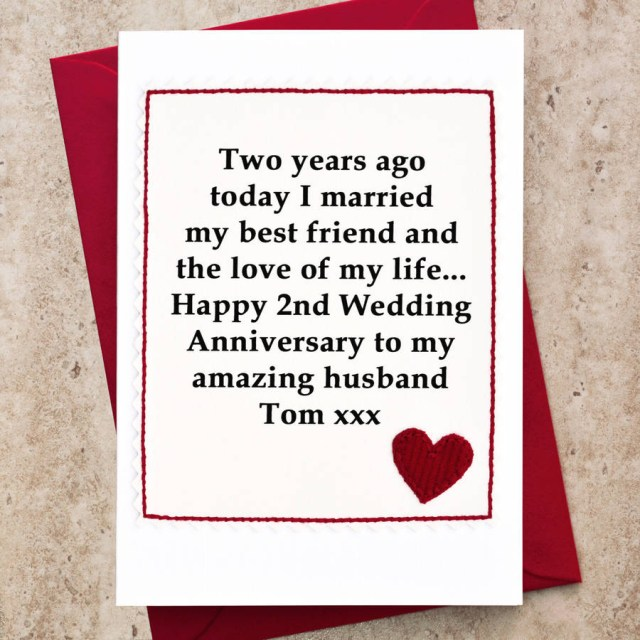 Wedding Anniversary Ideas Personalised 2nd Wedding Anniversary Card Jenny Arnott Cards