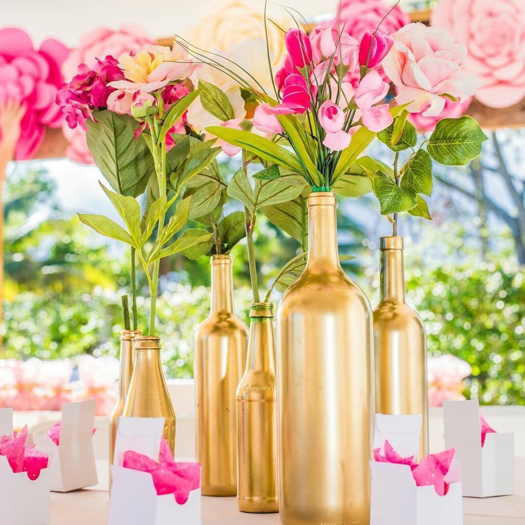 Wedding Decor Gold Gold Bottle Vases Centerpieces Vases Wedding Decor Gold Etsy