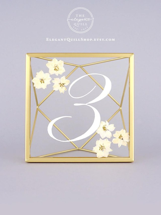 Wedding Decor Gold Pressed Flower Wedding Table Numbers Pressed Glass Frame Etsy